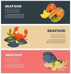 Seafood fresh fish menu vector web banners design template