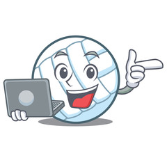 With laptop volley ball character cartoon