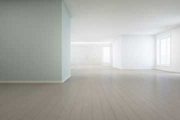 Wooden floor with blue concrete wall background in large room at modern new house for big family, White vintage window and door of empty hall or natural light studio - Home interior 3d illustration