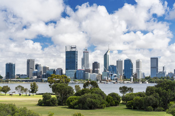 The Perth City skyline photographed from Sir James Mitchell Park in South Perth. Photographed: November 18, 2017.