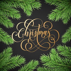 Merry Christmas trendy golden quote calligraphy on black premium background for winter holiday design template. Vector Christmas tree fir branch wreath decoration and golden New Year garland