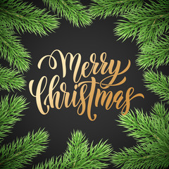 Merry Christmas holiday golden hand drawn quote calligraphy greeting card background template. Vector Christmas fir tree branch garland wreath decoration, golden font text on black premium design