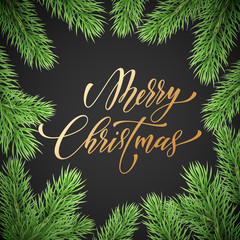 Merry Christmas holiday golden, hand drawn quote calligraphy greeting card background template. Vector Christmas fir branches garland wreath decoration and golden text on black premium design