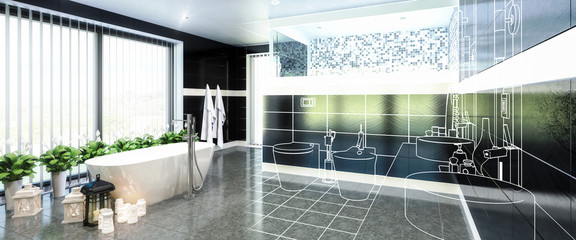 Luxurious Bathroom Furnishing in Project (panoramic)