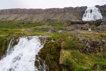 Beautiful Gongumannafoss and  Dynjandi waterfall,Iceland.