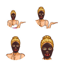 Set of vector pop art round avatar icons for users of social networking, blogs, profile icons. Young woman holds in her hand an imitation of a cosmetic black mask