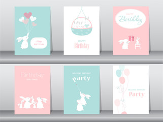 Set of birthday cards,poster,invitation cards,template,greeting cards,animals,rabbit,cute vector,Vector illustrations