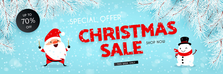 Christmas sale, discounts. Santa Claus, Snowman, Snow, Branches of the Christmas tree. Festive advertising banner with fun New Year characters and symbols. Vector