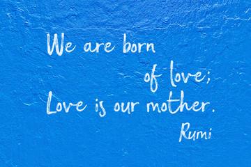 born of love Rumi Wall mural