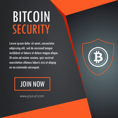 Bitcoin security icon on orange template design