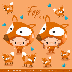 Boy and girl wearing Animal fancy hat : Vector Illustration