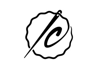 Classic Circle Letter IC Initial Needle Illustration Logo Design
