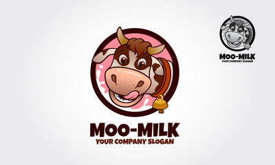 A cow cartoon character logo template This logo ideal for Food logo, Milk or Cheese Product, Ice Cream product, Yogurt product. and others.