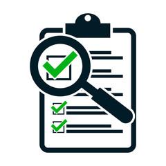 Fototapeta checklist magnifying assessment. Flat design icon