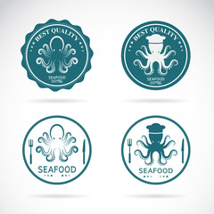 Set of vector octopus seafood labels on white background. Animal Logo.