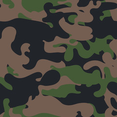 Seamless camouflage pattern. Military fabric texture. Khaki army uniform. Woodland style. Vector illustration