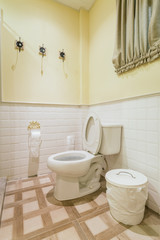 Toilet seat decoration in bathroom interior - Vintage Light Filter