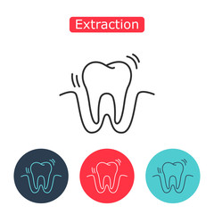 Tooth extraction vector line icon.