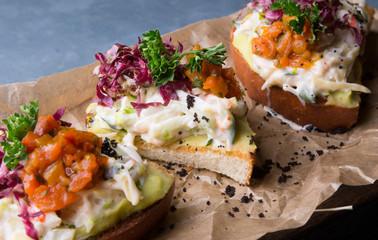 Bruschetta with crab salad