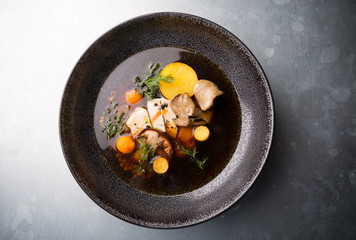 Mushroom soup with chicken