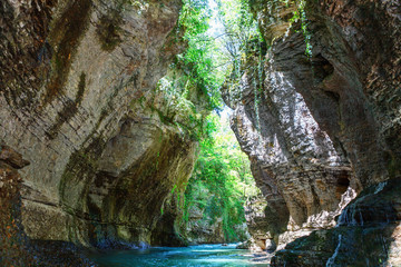 Deurstickers Canyon Martvili canyon in Georgia. Beautiful natural canyon with view of the mountain river