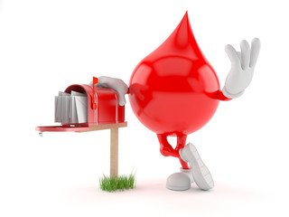 Blood drop character with mailbox