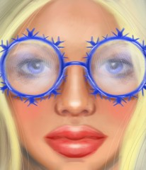 Blond girl in transparent glasses in the form of snowflakes in the style of digital oil painting