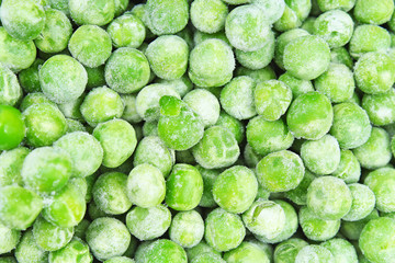 Frozen pea peases texture background. Green pease background pattern. Foog photo.