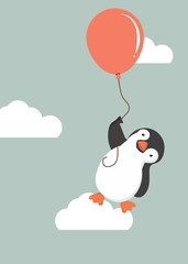 penguin  holding balloon