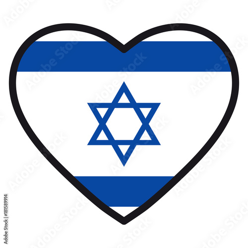 Flag Of Israel In The Shape Of Heart With Contrasting Contour