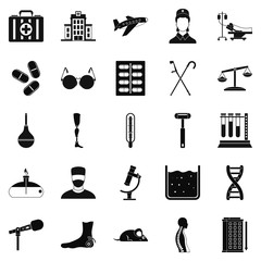 Field hospital icons set, simple style