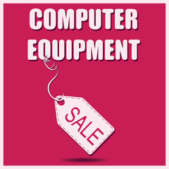 COMPUTER EQUIPMENT. Sale. PC mouse and red background. Banner, poster for a good deal. Design for printing on fabric or paper.