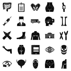 Dissection icons set, simple style