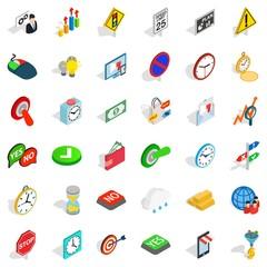 Speedometer icons set, isometric style