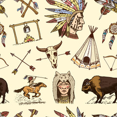 indian or native american. seamless pattern. buffalo, axes and tent, arrows and bow, skull, Dreamcatcher and cherokee, tomahawk. set of engraved vintage, hand drawn, old, labels or badges.