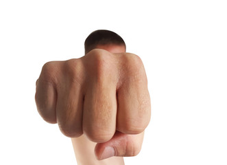 Angry man and his fist