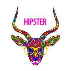 Ornament face on hipster gazelle with eyeglasses and mustache, vector illustration isolated on white background