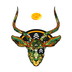 Ornament face on pirate gazelle with hat and gold coin, vector illustration isolated on white background