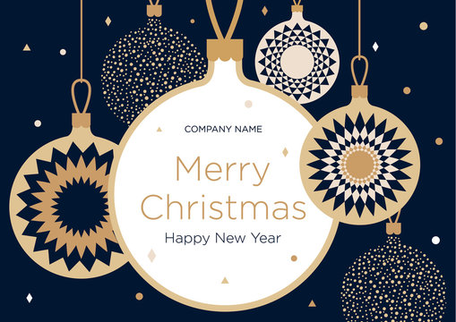 Christmas greeting banner or card. Golden Christmas balls on a dark blue background. New Year's design template with a window for text. Vector flat. Horizontal format