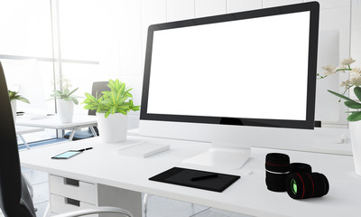 Digital photography studio portrait white screen