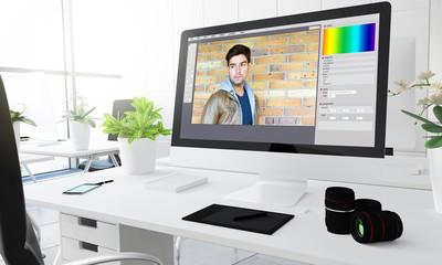 Digital photography studio portrait retouch