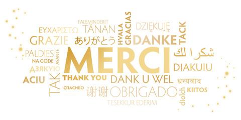 merci multilingue - blanc et doré