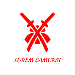 Two crossed swords and a samurai helmet. Red abstract logo template.