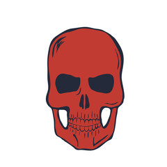 Red Skull on White Background. Vector