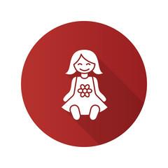 Baby doll flat design long shadow glyph icon