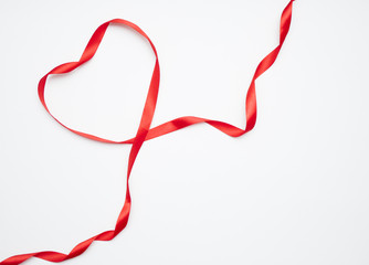 Red Ribbon Heart on white background