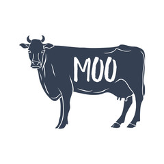 """Cow Silhouette with """"Moo"""" text. Vector"""
