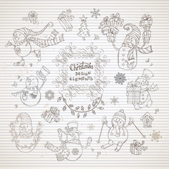Vector set of cute snowmen on striped paper background.