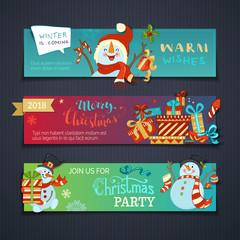 Vector set of horizontal Christmas banners.