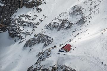 Rifugio Franchetti photographed in winter by the summit of Gran Sasso, Campo Imperatore, Teramo province, Abruzzo, Italy, Europe